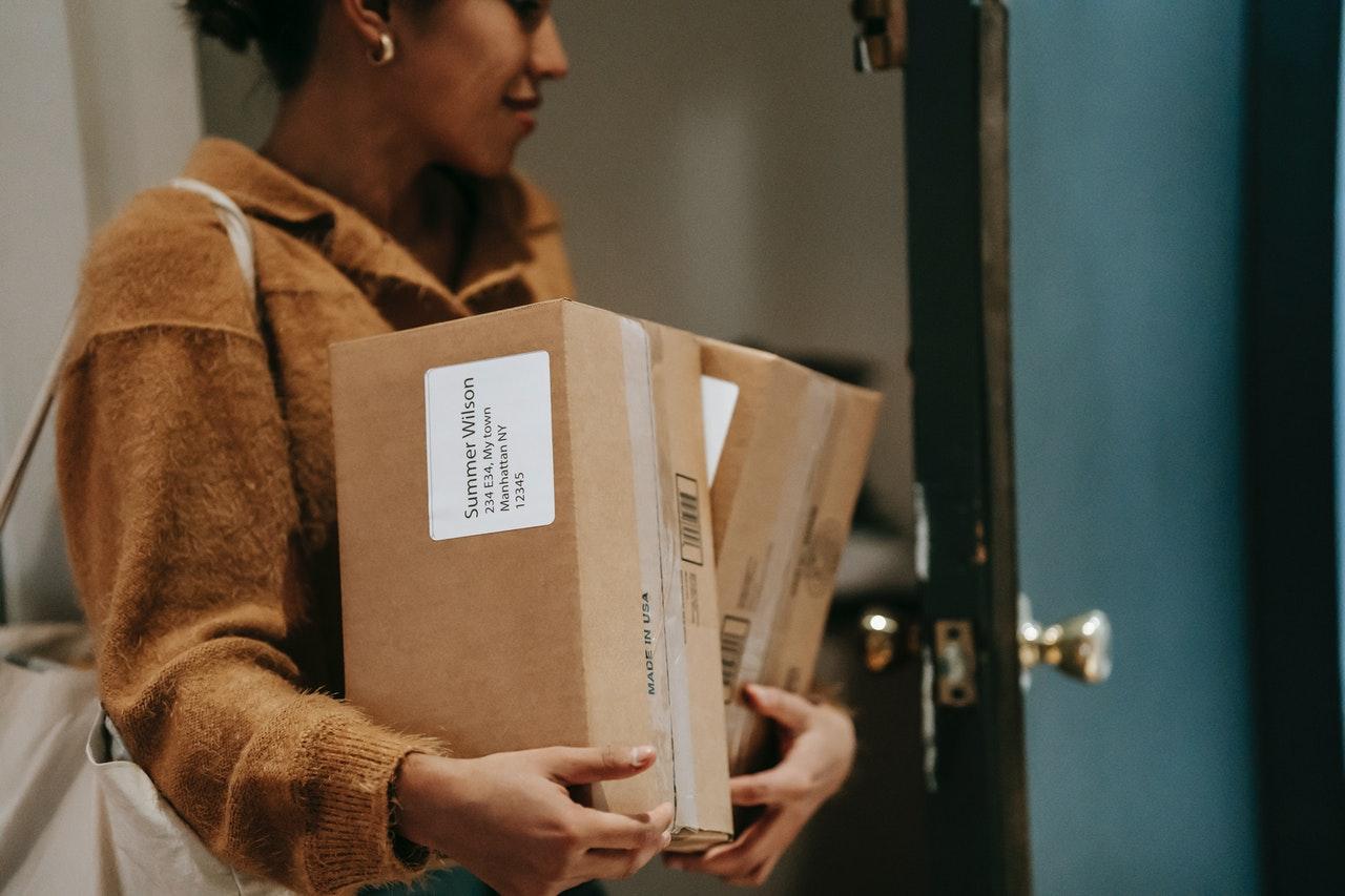 women receiving packages