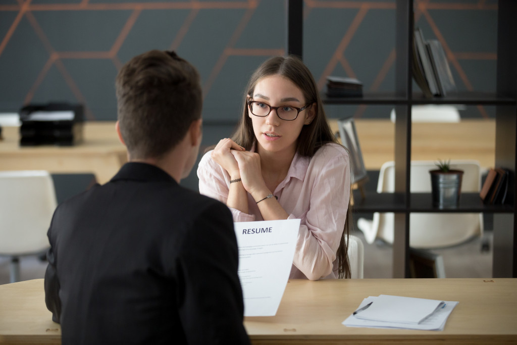 A recruiter talking to an applicant